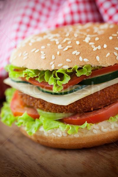 Brathähnchen Fisch burger Sandwich ungesundes Essen tief Stock foto © mythja