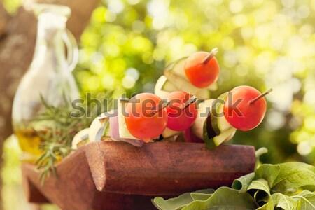 Zöldség kebab tavasz kert barbecue koktélparadicsom Stock fotó © mythja