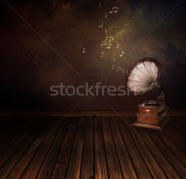 Vintage phonograph on Art abstract background Stock photo © mythja