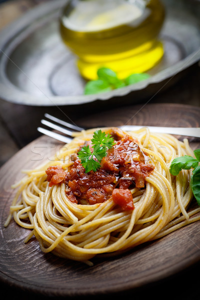 Pasta with tomato sauce Stock photo © mythja