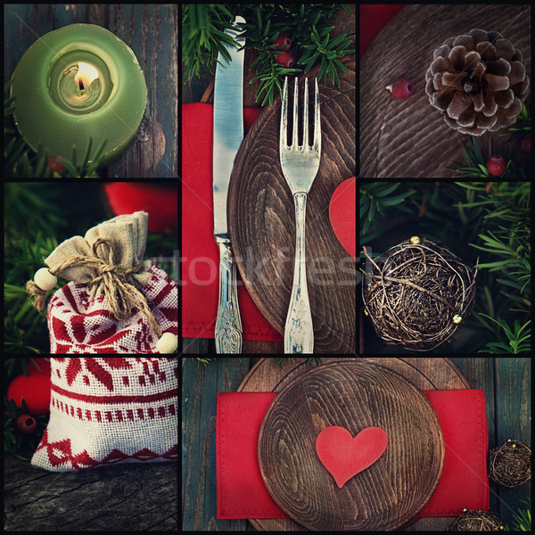 Stock photo: Christmas dinner collage