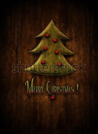 Stock foto: Weihnachten · Design · Weihnachtsbaum · Winter · Holz