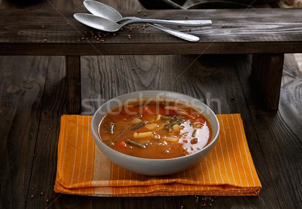 Plantaardige stoven heerlijk soep worst frans Stockfoto © mythja