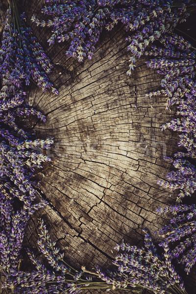 Levendula koszorú virág köteg fa virágmintás Stock fotó © mythja