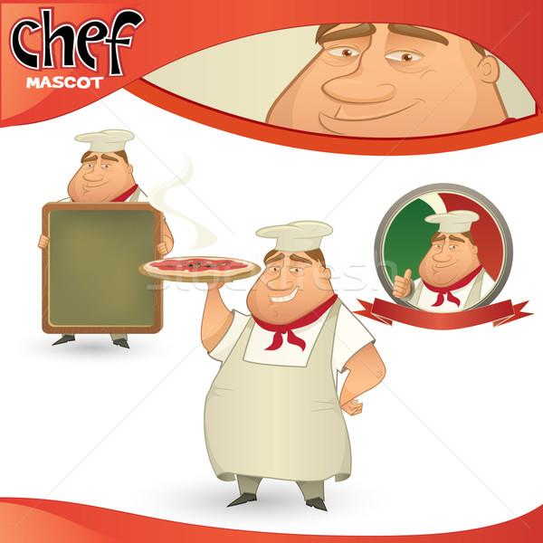 Vettore chef ristorante italiano mascotte menu Foto d'archivio © mythja