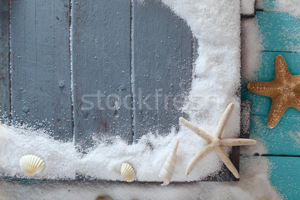 Nyár fából készült fehér homok tengeri csillag homok ünnep Stock fotó © mythja