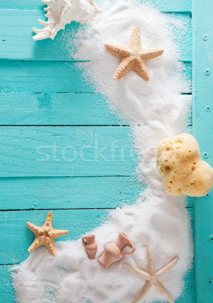 Nyár fa fából készült fehér homok tengeri csillag homok Stock fotó © mythja
