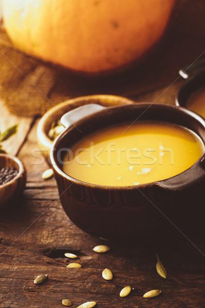 Foto stock: Abóbora · sopa · outono · jantar · saudável · sopa · de · legumes