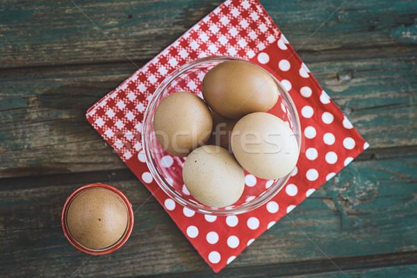卵 木材 健康食品 朝食 食品 ストックフォト © mythja