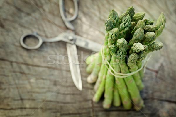 Frissen spárga tavasz kert fából készült étel Stock fotó © mythja