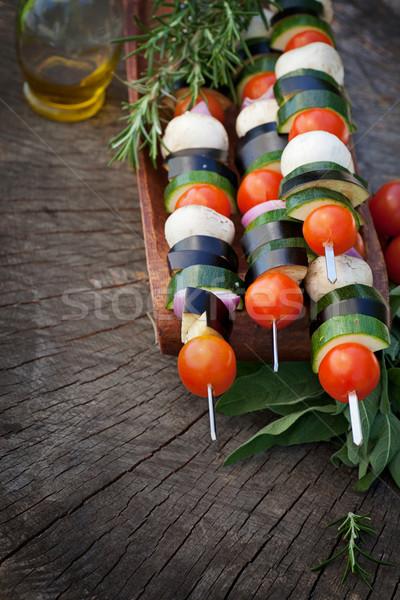 Sebze kebap bahar bahçe barbekü kiraz domates Stok fotoğraf © mythja