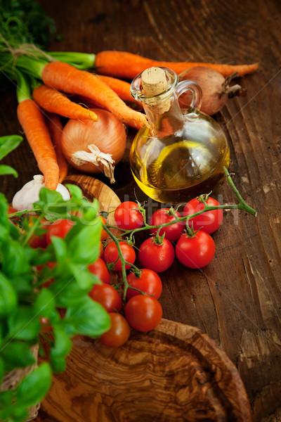 Taze sebze taze malzemeler pişirme rustik domates Stok fotoğraf © mythja