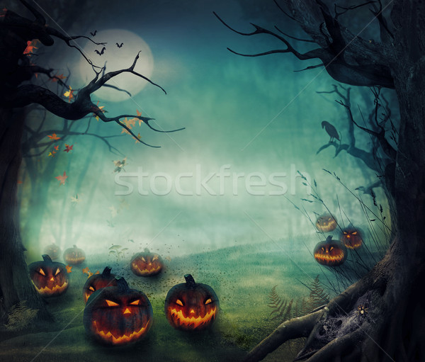 Halloween design - Forest pumpkins Stock photo © mythja