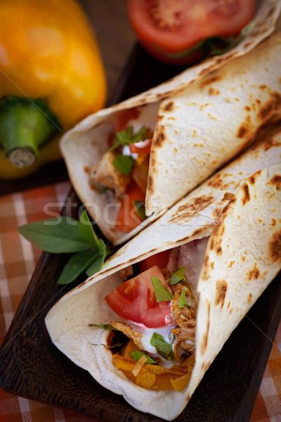 Fresco comida mexicana tortilla frango legumes comida Foto stock © mythja