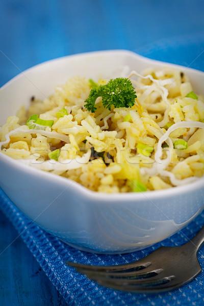 Vejetaryen pırasa risotto vejetaryen yemek garnitür arka plan Stok fotoğraf © mythja