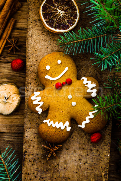 Gingerbread man on wood Stock photo © mythja