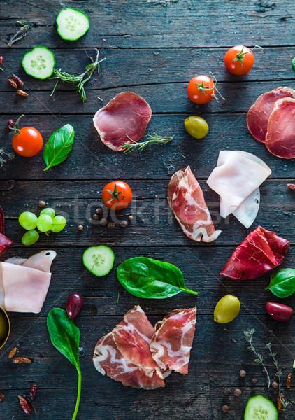 Italian ham on wood Stock photo © mythja
