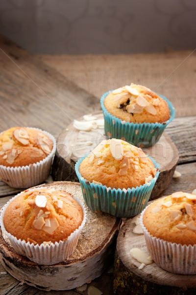 Stock fotó: Finom · muffinok · organikus · mandula · cseresznye · csésze