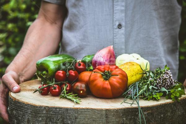 農家 新鮮な野菜 野菜 木材 オーガニック 農民 ストックフォト © mythja