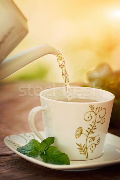 Copo chá água quente Foto stock © mythja