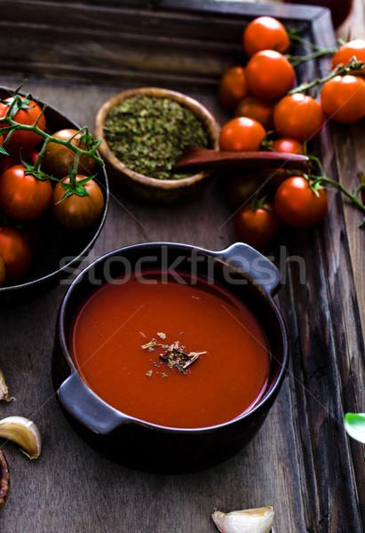 Domates çorbası ev yapımı domates otlar baharatlar konfor Stok fotoğraf © mythja