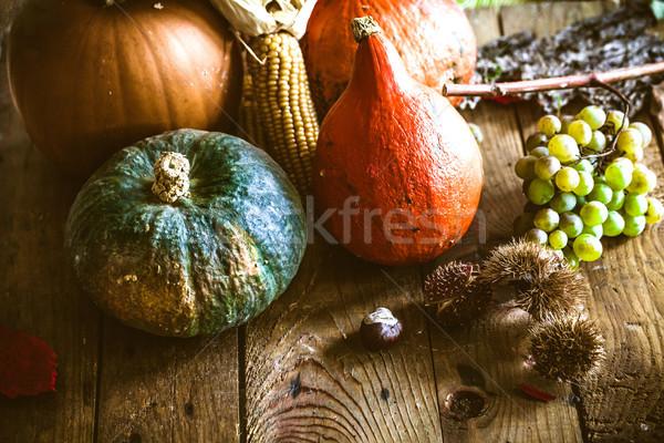 Thanksgiving dinner on wood Stock photo © mythja