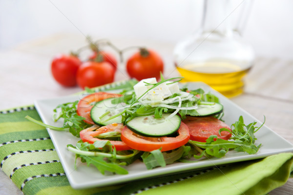 Egészséges zöldség saláta saláta fetasajt rakéta Stock fotó © mythja