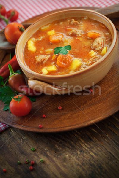 Borjúhús pörkölt finom leves hús zöldségek Stock fotó © mythja