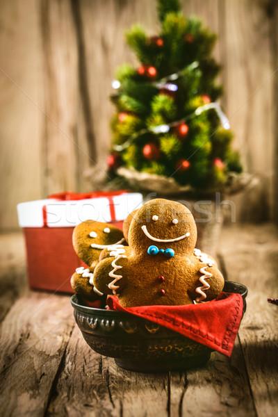 Gingerbread man kurabiye Noel noel tatlı Stok fotoğraf © mythja