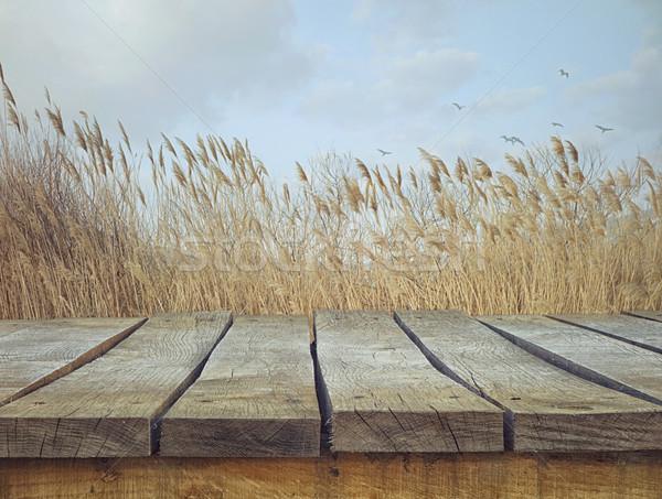 ストックフォト: 木製のテーブル · 風景 · 木材 · 空っぽ · モンタージュ