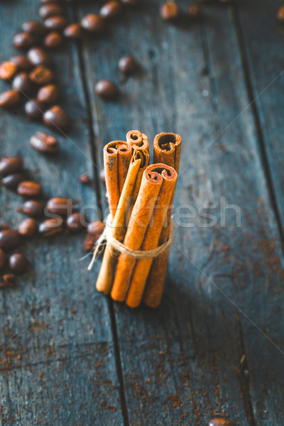 Photo stock: Café · cannelle · grains · de · café · bois · vintage · alimentaire