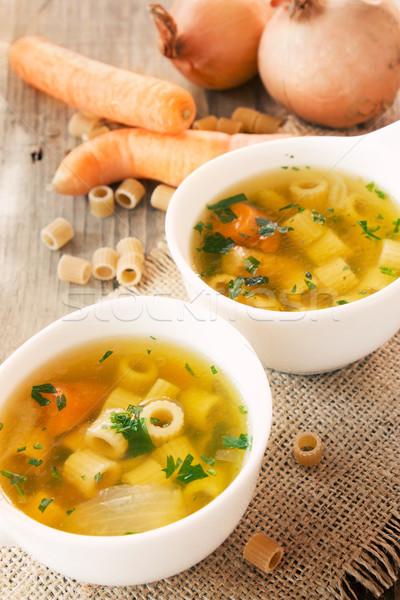 Sopa de legumes macarrão enfeite comida verde jantar Foto stock © mythja