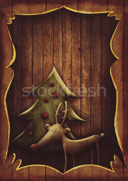 Christmas card - Rudolph with tree in wooden frame Stock photo © mythja