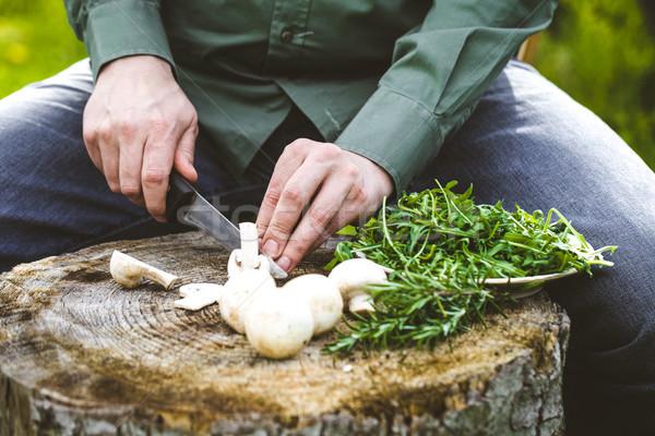 Hout kok champignons boord Stockfoto © mythja