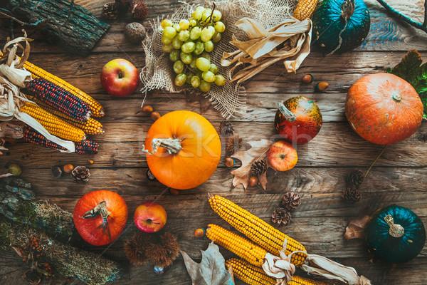 Sonbahar Şükran Günü gün meyve gıda doğa Stok fotoğraf © mythja