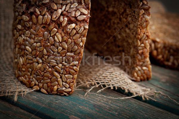 Rústico pan pan girasol semillas madera Foto stock © mythja