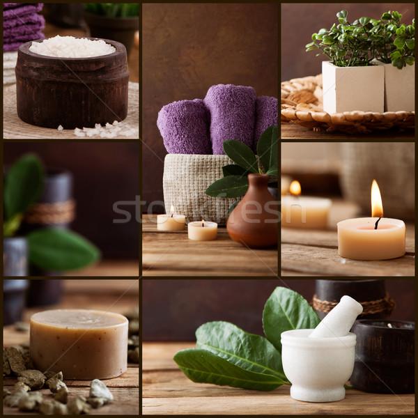 Spa wellness kolaż kosmetyki kwiatowy wody Zdjęcia stock © mythja