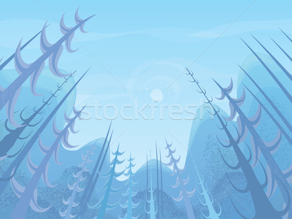 Vector landscape. View through the trees Stock photo © mythja