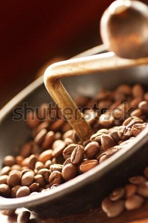 Kahve çekirdekleri öğütücü rustik eski kahve ahşap Stok fotoğraf © mythja