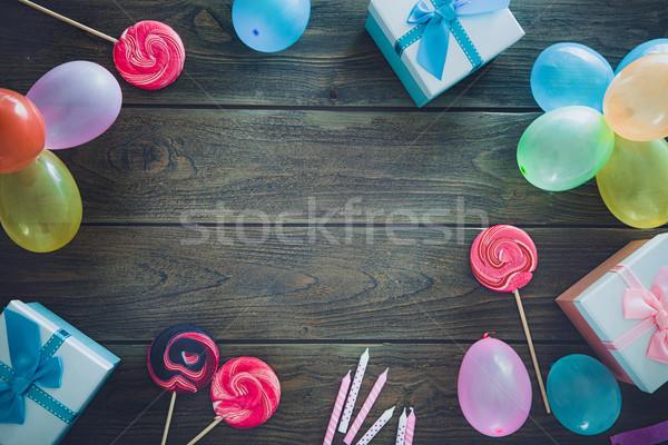 Születésnap ünneplés copy space üdvözlőlap buli fa Stock fotó © mythja