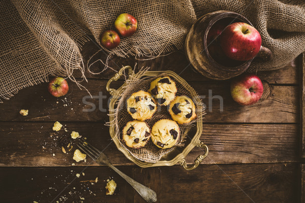 Chocolate chips and almond muffins Stock photo © mythja
