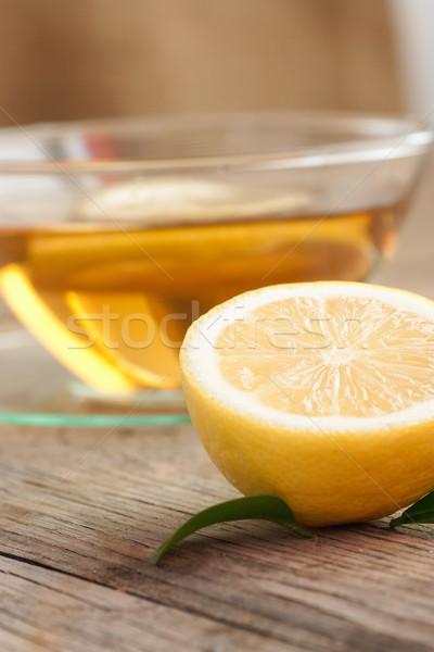 ストックフォト: レモン · フルーツ · 茶碗 · オーガニック · 茶 · 自然