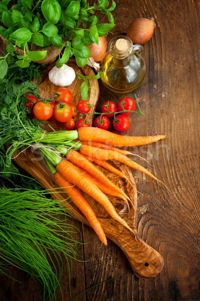 Verdure fresche fresche ingredienti cottura rustico pomodori Foto d'archivio © mythja
