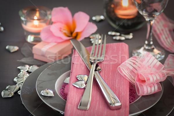 ストックフォト: バレンタインデー · ディナー · レストラン · ディナーテーブル · ピンク · グレー