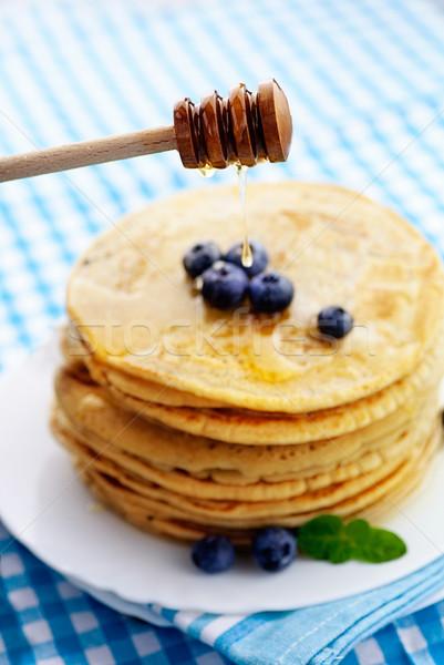 Stock fotó: Palacsinták · méz · reggeli · étel · áfonya · fa