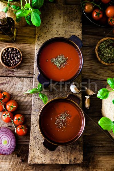 Zupa pomidorowa oliwy bazylia żywności życia Zdjęcia stock © mythja