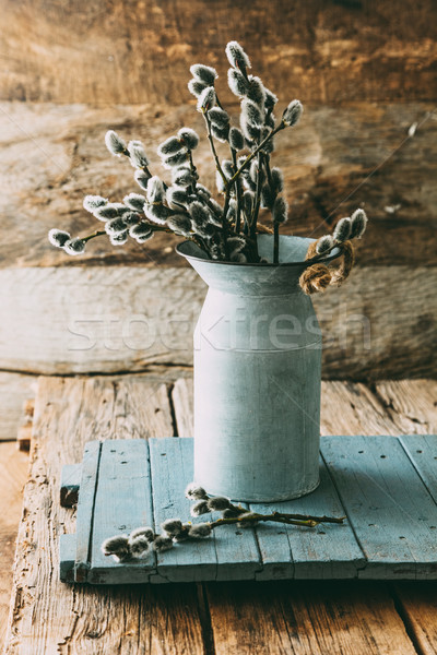 Flores da primavera madeira rústico primavera comida feliz Foto stock © mythja