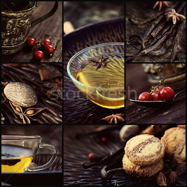 Photo stock: Hiver · thé · collage · restaurant · cookies · épices