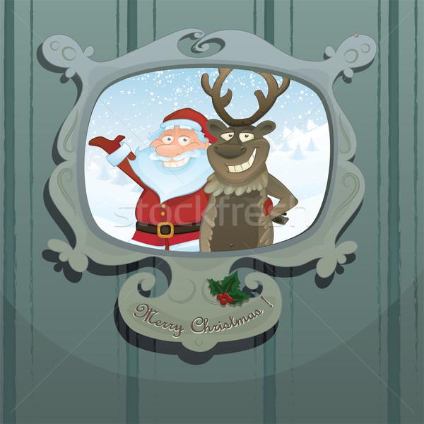 Vector Christmas illustration  with Santa and Rudolph Stock photo © mythja