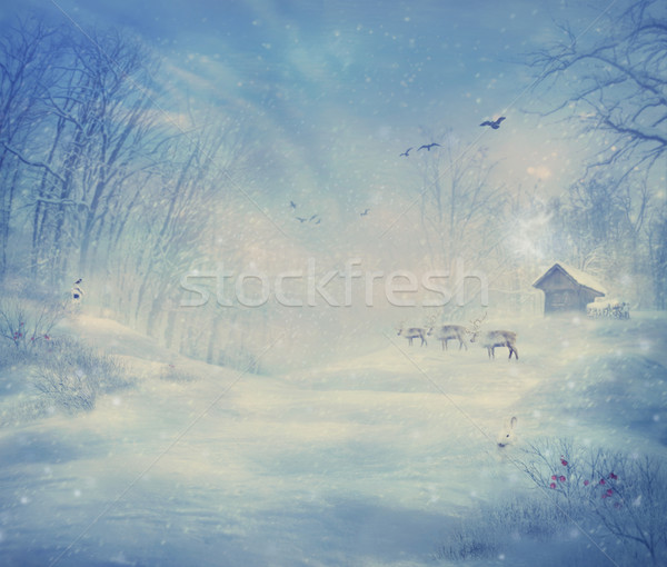 Winter ontwerp rendier bos christmas kaart Stockfoto © mythja